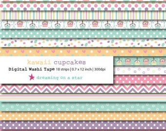 SALE Cupcake Digital Washi Tape, Kawaii Washi, Kawaii border, Cute Washi, Cupcake Washi, Digital Scrapbook, INSTANT DOWNLOAD, Commercial Use