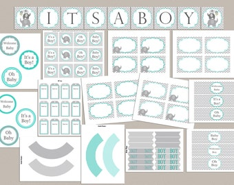 Baby Shower Decorations Boy Baby Shower Party Pack Baby Shower Party Package Printable Elephant Baby Shower Package Baby Shower Decor (01)