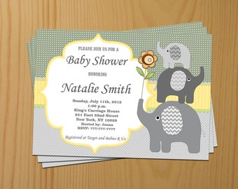 Elephant Baby Shower Invitation Boy Baby Shower invitations Printable Baby Shower Invite -FREE Thank You Card - editable pdf Download (50a2)