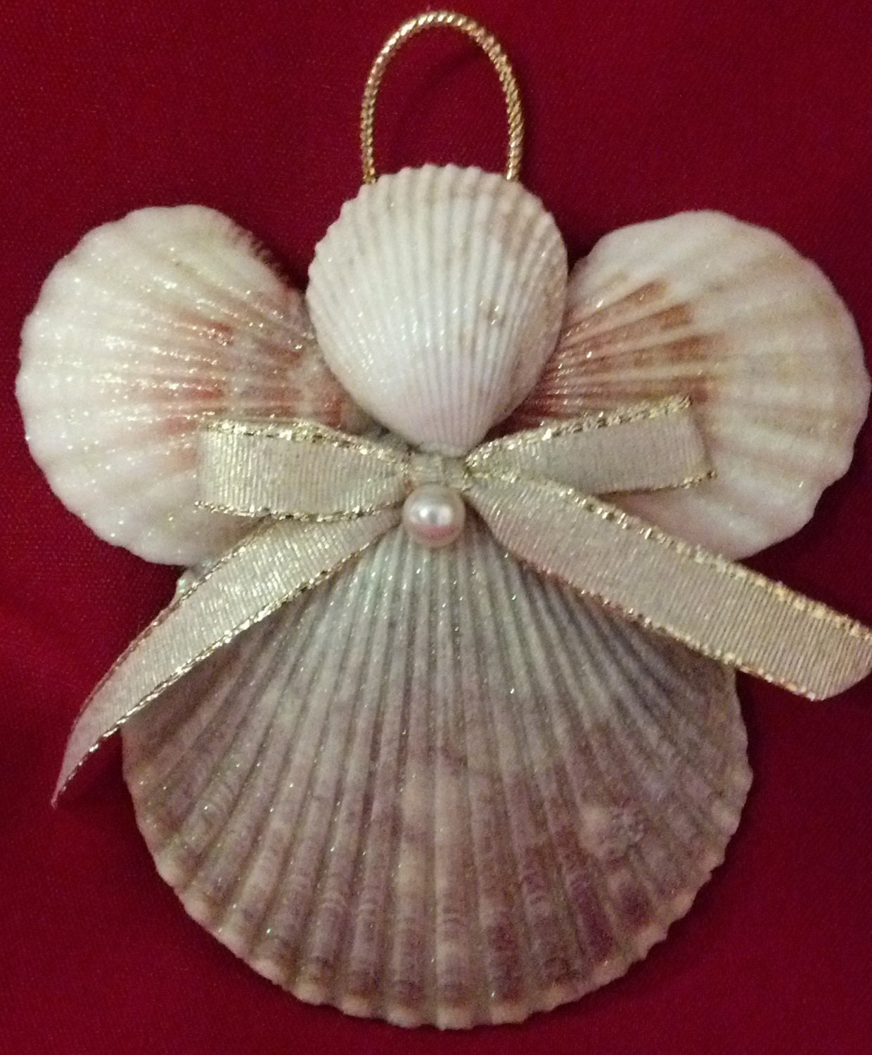 Seashell angel christmas ornament beach decor nautical for What are shells made of
