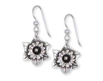 Solid Sterling Silver Daffodil Earrings Jewelry  DAF2-E