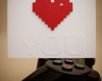Geeky Card - 8-bit I Heart You Valentine's Day Greeting Card