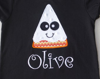 Candy Corn Ghost Appliqued Shirt