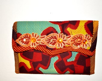 Women Christmas Gift-Tangerine Bridesmaid Clutch, Women Jewel Formal Clutch- Gorgeous -Ankara African Fabric Purse by Zabba Designs