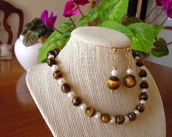 Tiger Eye and Pearl Choker Necklace and Earring Set