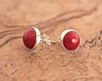 Coral Circle Silver Earrings -Red-Amazing-Gem-Casual-Stone