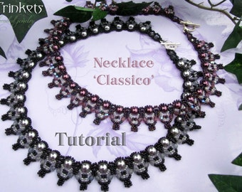 Tutorial for beadwovenpearl necklace 'Classico' - PDF beading pattern - DIY