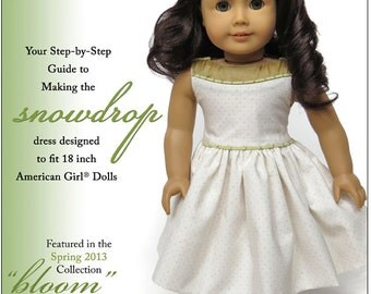 Pixie Faire Melody Valerie Couture Snowdrop Dress Doll Clothes Pattern for 18 inch American Girl Dolls - PDF