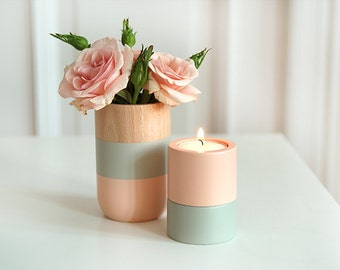 Wooden Vase and Candle holders Home Decor