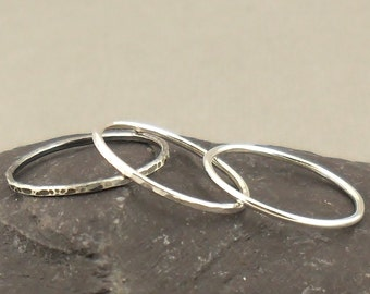 Sterling Silver Ring Set Of Three, Stacking Ring, Hammered Ring, Simple Rings, Skinny Ring, Sterling Silver Jewellery 925