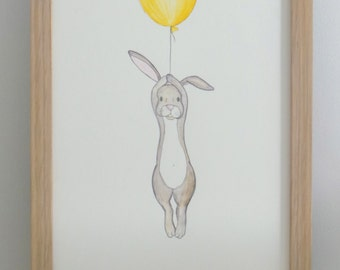 Floating Rabbit- nursery art- print- drawing-illustration  Gift for boy or girl - Yellow ballon and hare