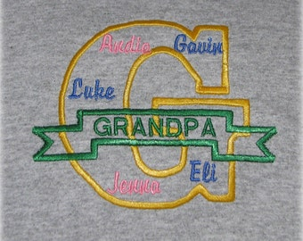 Grandpa Shirt with Grandkids Names, Fathers Day Gift, Personalized G for Grandfather Tee Shirt Gift - Grandparent Shirt - Grandfather Shirt