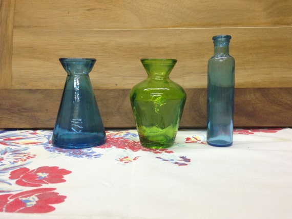 1950s colored glass collection vintage 1950s glass bottle for Small colored glass jars
