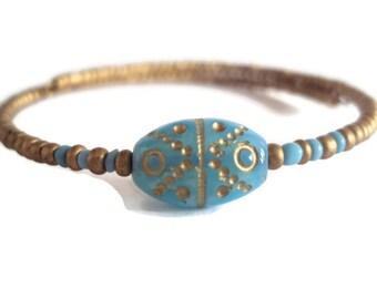 Eco Friendly Minimalist Bracelet Gold and Blue