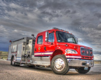 fire truck engine station Wyoming red clouds fireman