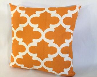 "Orange and White Lattice Trellis Accent Pillow Cover 'Fynn Cinnoman ' With Zipper, 18"" X 18"""