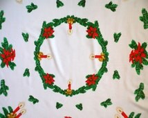 Vintage cotton white Christmas tablecloth table cloth Printed Christmas Pattern with Wreath , Candles & Christmas Star