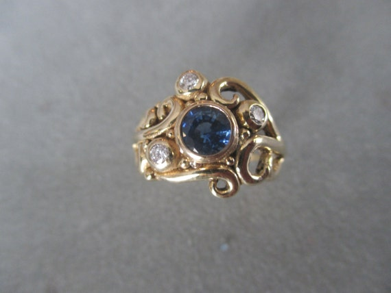 Sapphire Engagement Ring by RichelleJewelry on Etsy