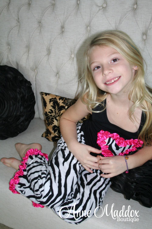 Girls Zebra Pajamas / Pajamas for Girls / Animal Print /