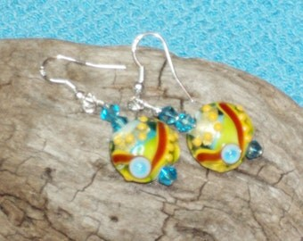 Handmade Lampwork Green, Gold, Blue, Red, Yellow, Turquoise Beads with Swarovski Turquoise Crystal Beads on 925 Sterling Silver Ear Wires