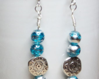 Southwest Inspired Turquoise Bead and Silver-Toned Charm Wire Wrapped to Silver Toned Ear Wires
