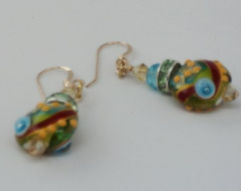 Bright Glass Lentil Beads Blue, Lime Green, Yellow, Red and Yellow, Lime Green and Turquoise Swarovski Crystal Beads on 14KGF Ear Wires