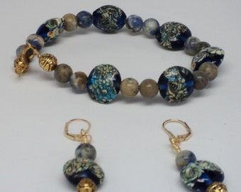 Handmade Lampwork Blue Peacock Glass Lentil Beads Gemstone Beads Metal Gold Toned Beads Gold Toned Findings Gold Toned Leverback Ear Wires