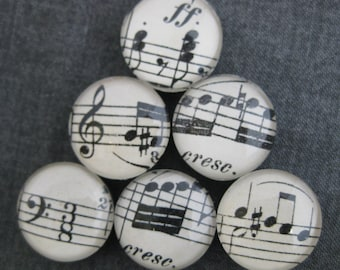 Black and White Sheet Music Glass Magnets (set of 6)