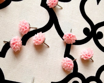 Decorative push pins, set of 10, vintage style, pink flowers, dorm decor, girls room, hostess gift, cork bulletin board, graduation gift