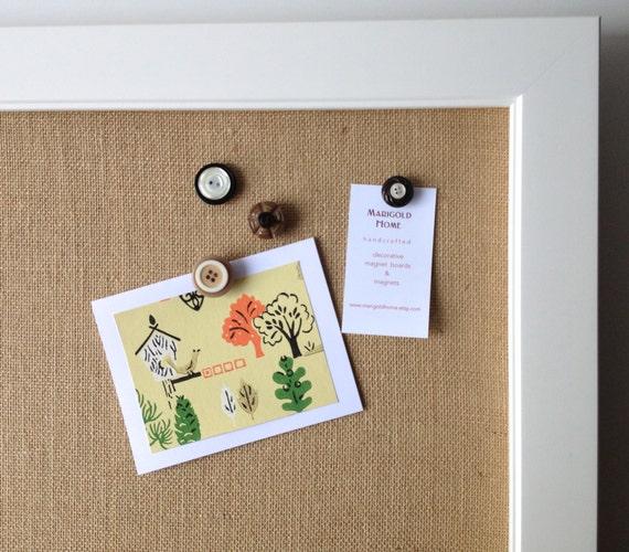Bulletin board ex lg tan burlap framed magnetic board modern for Modern bulletin board
