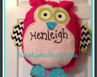 Colorful Owl Burlap Door Hanger / birth announcement baby girl Hospital  Door