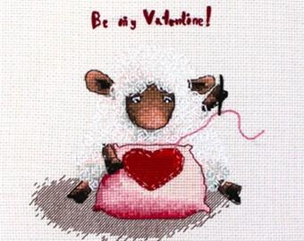 Cross stitch pattern, sheep needlepoint, 2015New Year, Valentine