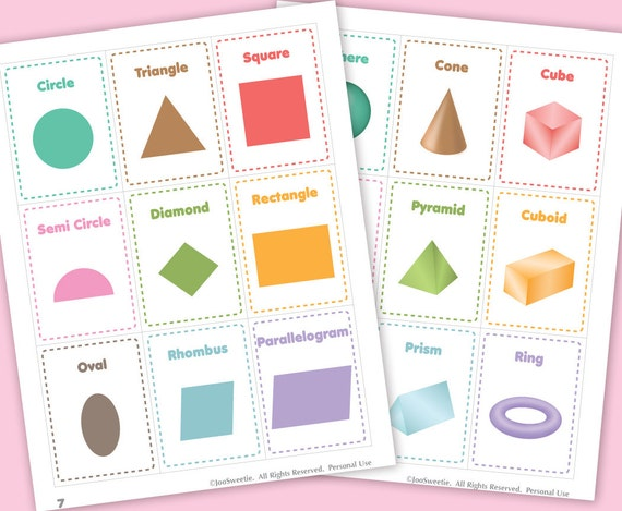 Color And Shape Flash Cards Printable Pdf Download From