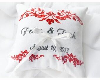 Wedding Pillow , Linen ring bearer pillow , wedding ring pillow, Custom embroidered ring bearer pillow (R10)