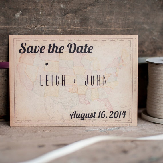 Map Save the Date, Save the Date card  - The Vintage Map - save the date postcard, rustic Save the Date, Destination wedding, rustic, eco