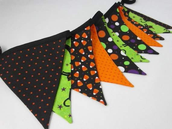 Halloween Bunting, Halloween Banner,  Kid Friendly, Child Party Banner, Fabric Bunting, Reusable Halloween Decoration, Halloween Party Decor
