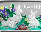 1oz .999 Fine Silver Bar Enameled by SilverTowne Easter Basket With Rabbits     Coins Make Cents