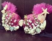 Pink Mermaid under the sea bra.  Pearls, seaweed, shells, sequins.