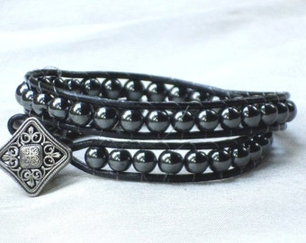 Leather Wrap bracelet with Gunmetal beads and metal button closure