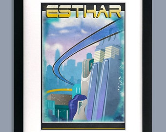 12x18 Final Fantasy 8 Inspired - ESTHAR Retro Tourism Print Poster
