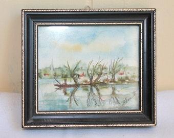 Vintage Miniature Painting, Hand Painted Miniature Framed Oil Painting