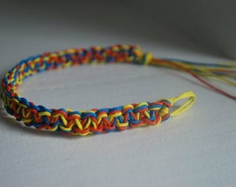 Bright Bold Multicolored Hemp Anklet with Blue, Orange, and Yellow Hemp