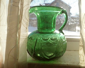 Clevenger Brothers Stars and Shield Emerald Green Pitcher