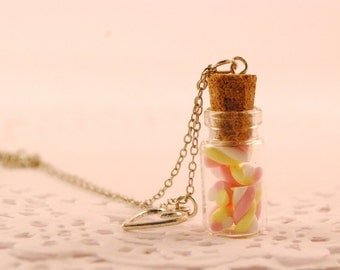 marshmallow jar necklace - food jewelry