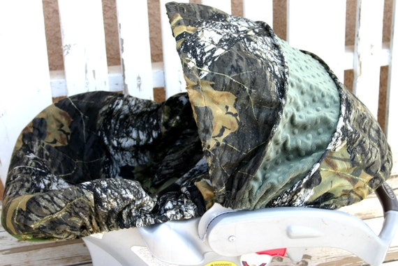 Mossy Oak Camo With Hunter Green Minky Car Seat Cover And