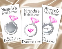 10 - Scratch Off Game Cards - Pink Bridal Shower Diamond Ring