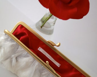 Clutch with white grey natural feathers. Ivory Bridal Clutch - red lining - Wedding silver gold - Weddings - Bridal Accessories