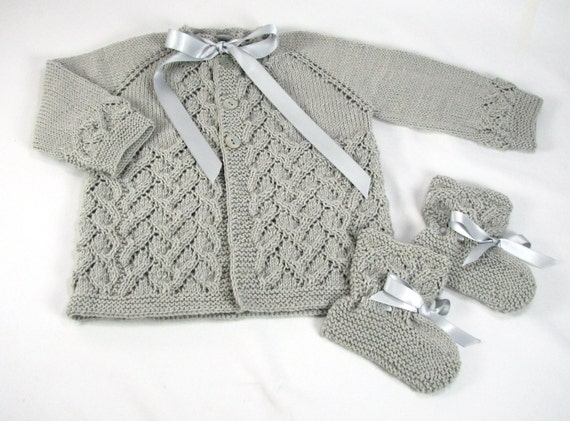 Baby Merino Wool Sweater & Booties Set Hand by SusansTimelessKnits