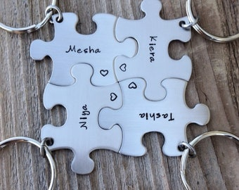 Puzzle piece keychain set wedding  party gift or best friends stainless steel sister gift