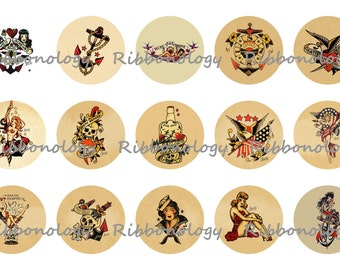 1 Inch Sailor Jerry Tattoo Bottle Cap Graphics set #2  4x6 15 Images Per Sheet